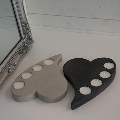 Hjärta med värmeljus betong
