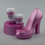 Rosa sko i gips målad med metallicfärg ws och company